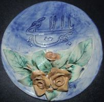 studio1world bahai inspired art - Ceramic circle shaped sculpture with the Greatest Name of God