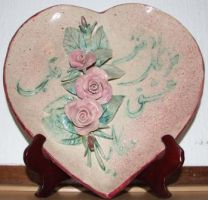 studio1world bahai inspired art - Ceramic heart with hidden words