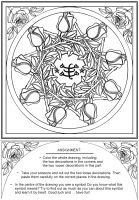 studio1world bahai inspired art - Drawing: Greatest Name with roses.