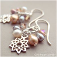 studio1world bahai inspired art - Nine Pointed Star Pearl Cluster Earrings